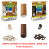 100 Piece Packs of Round 25mm - 1inch Felt Floor Protectors