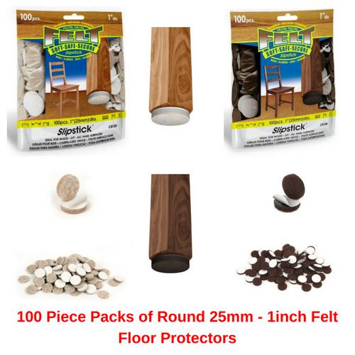 100 Piece Packs of Round 25mm - 1inch Felt Floor Protectors