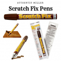 Miller Scratch Fix Pen in Packet and example of what the touch up pen does.