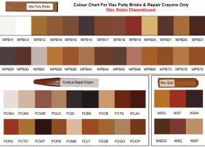Colour Chart For Wax Filler Sticks
