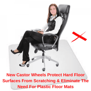New Rubber Castor Wheels on Office Chair Protect Hard Floor Surfaces