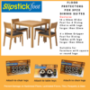 Slipstick Foot Floor Protectors for attaching to a 5 piece Dining Setting. Shows 2 packets of Furniture Sliders and 1 packet of Furniture Grippers with explanation.