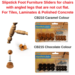Slipstick Foot Furniture Swivel Sliders 19mm for Chairs